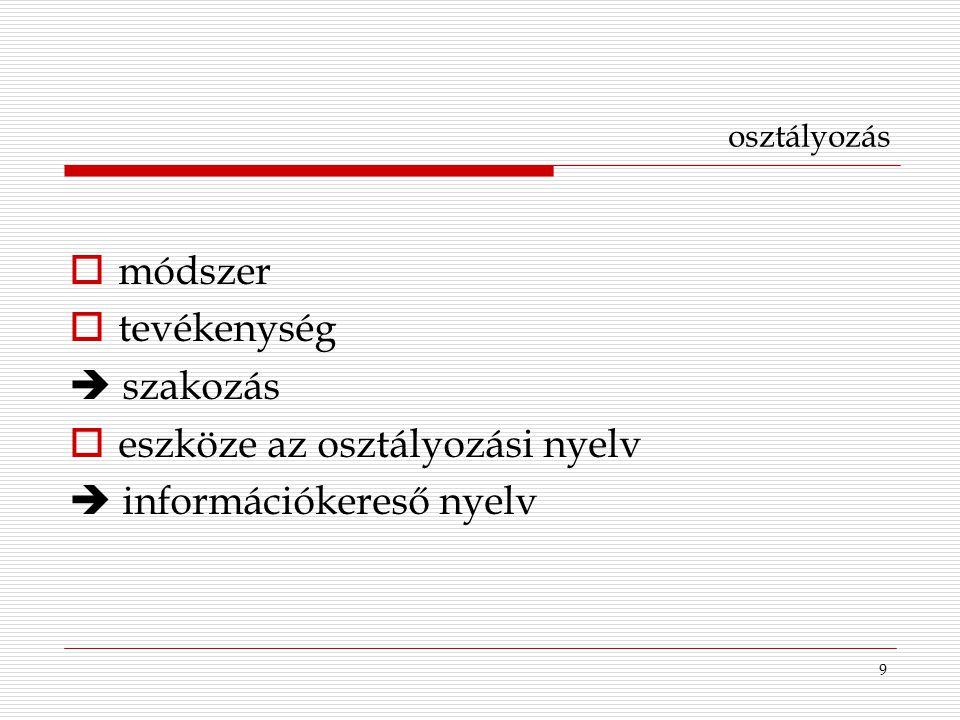 9 osztályozás  módszer  tevékenység  szakozás  eszköze az osztályozási nyelv  információkereső nyelv