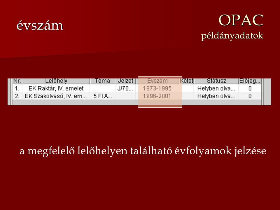 OPAC példányadatok évszám a megfelelő lelőhelyen található évfolyamok jelzése