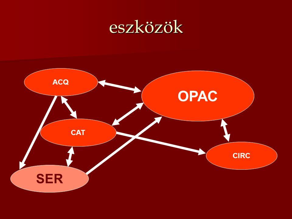 eszközök OPAC ACQ CAT SER CIRC