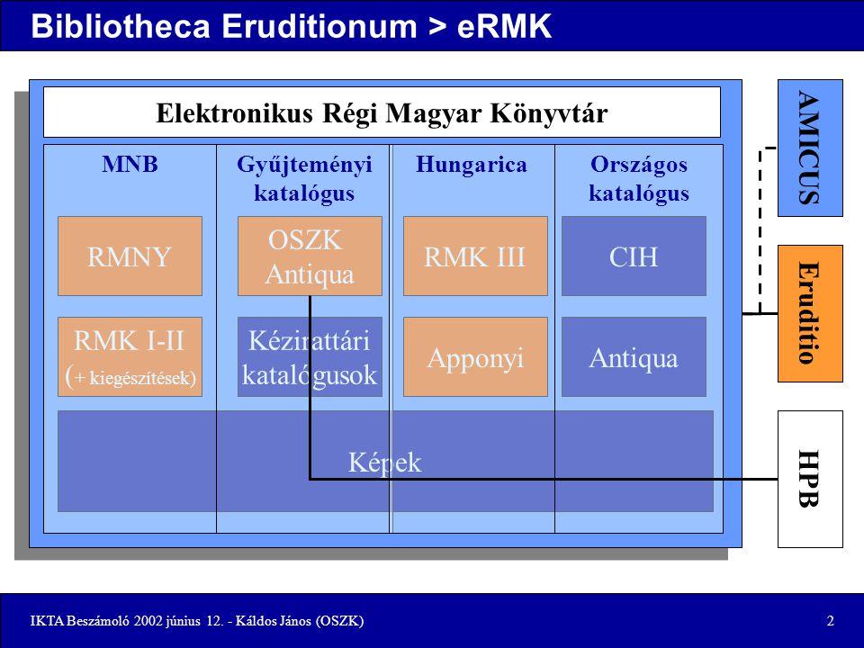 IKTA Beszámoló 2002 június 12.- Káldos János (OSZK)3 Jelenlegi helyzet Elkészült –CD – eRMK I.