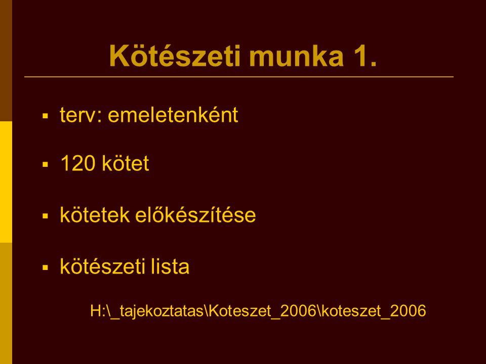 Kötészeti munka 1.  terv: emeletenként  120 kötet  kötetek előkészítése  kötészeti lista H:\_tajekoztatas\Koteszet_2006\koteszet_2006