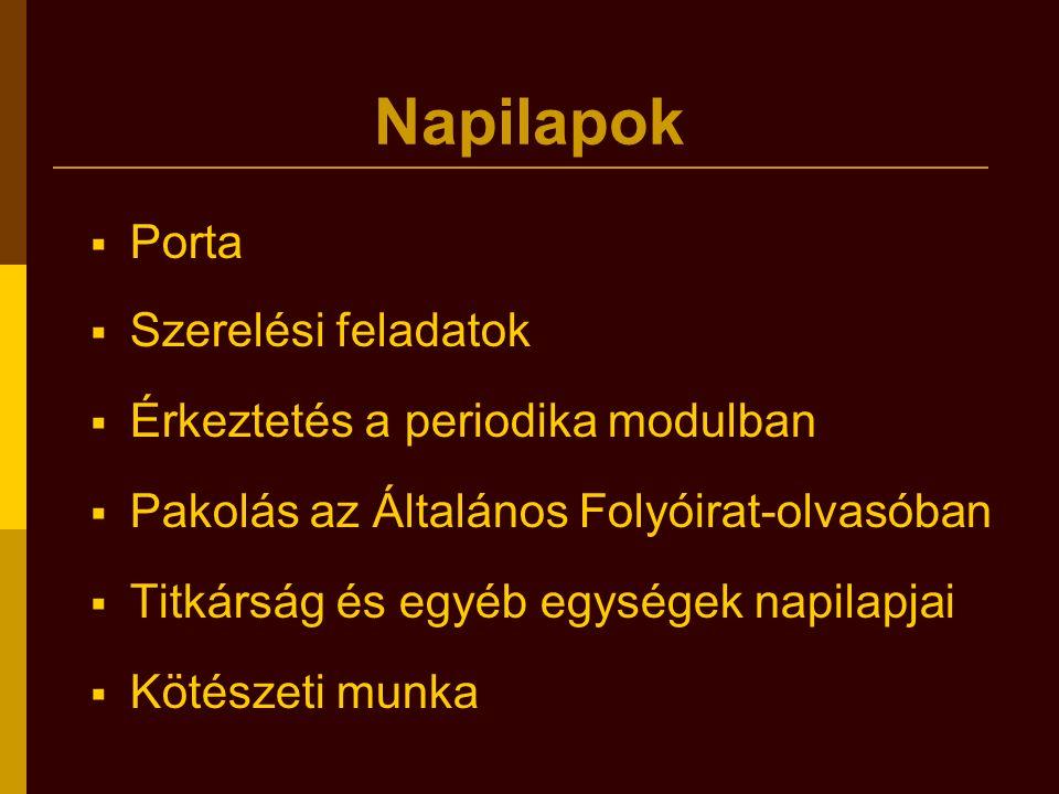 Napilapok  Porta  Szerelési feladatok  Érkeztetés a periodika modulban  Pakolás az Általános Folyóirat-olvasóban  Titkárság és egyéb egységek nap