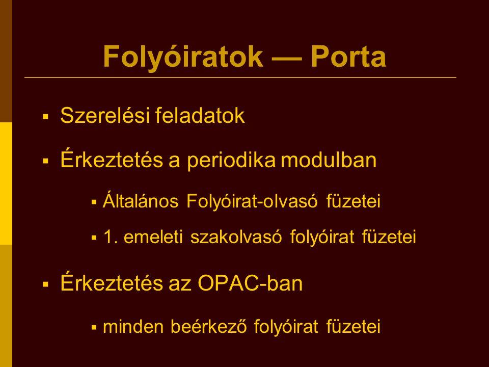 Folyóiratok — Porta  Szerelési feladatok  Érkeztetés a periodika modulban  Általános Folyóirat-olvasó füzetei  1. emeleti szakolvasó folyóirat füz