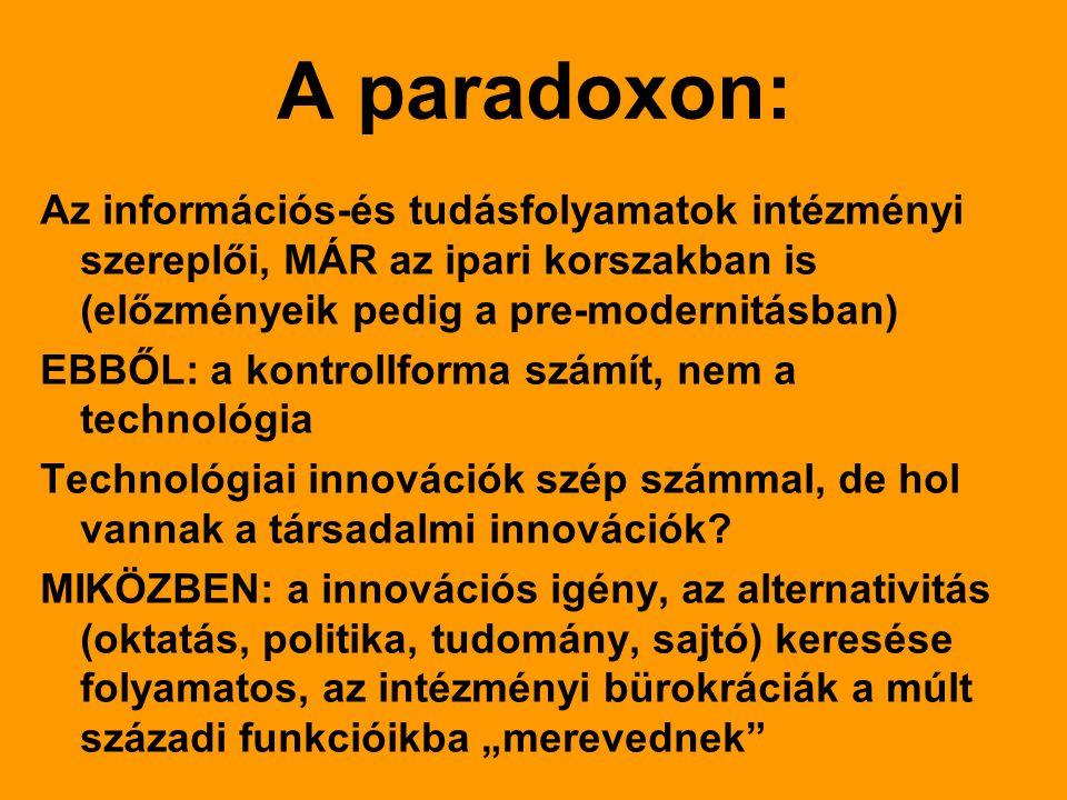 A paradoxon: Az információs-és tudásfolyamatok intézményi szereplői, MÁR az ipari korszakban is (előzményeik pedig a pre-modernitásban) EBBŐL: a kontrollforma számít, nem a technológia Technológiai innovációk szép számmal, de hol vannak a társadalmi innovációk.