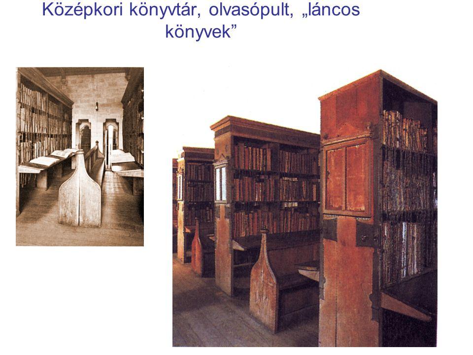 """Középkori könyvtár, olvasópult, """"láncos könyvek"""
