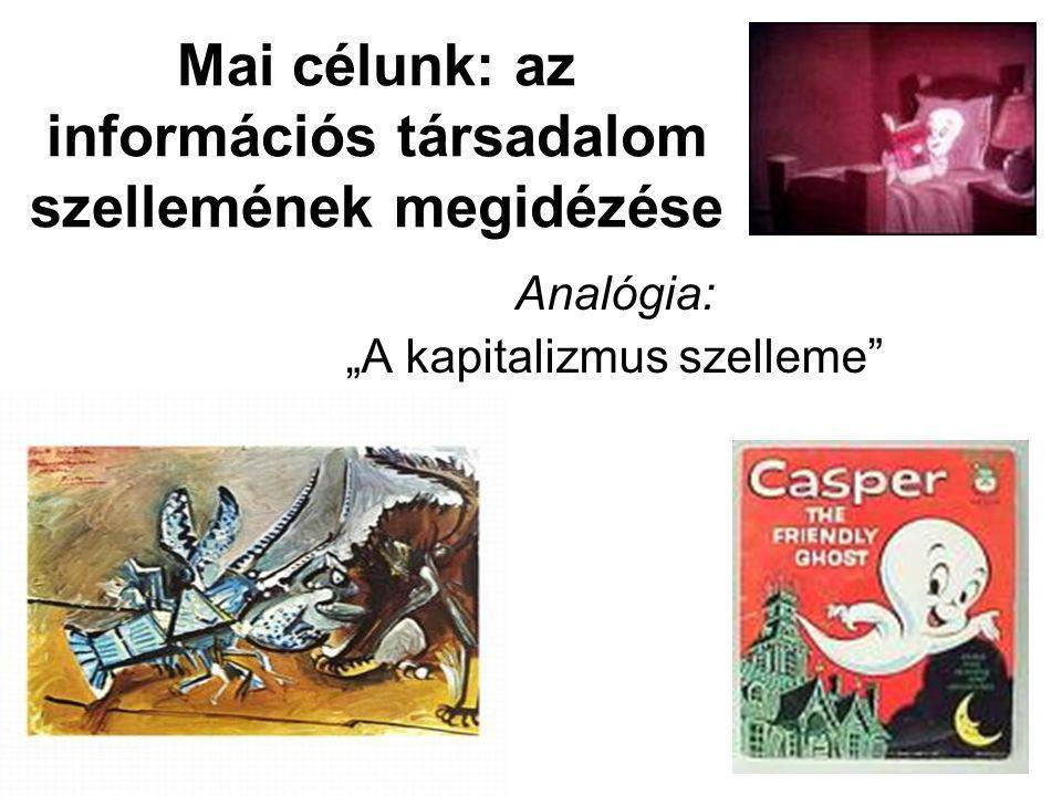 """Mai célunk: az információs társadalom szellemének megidézése Analógia: """"A kapitalizmus szelleme"""
