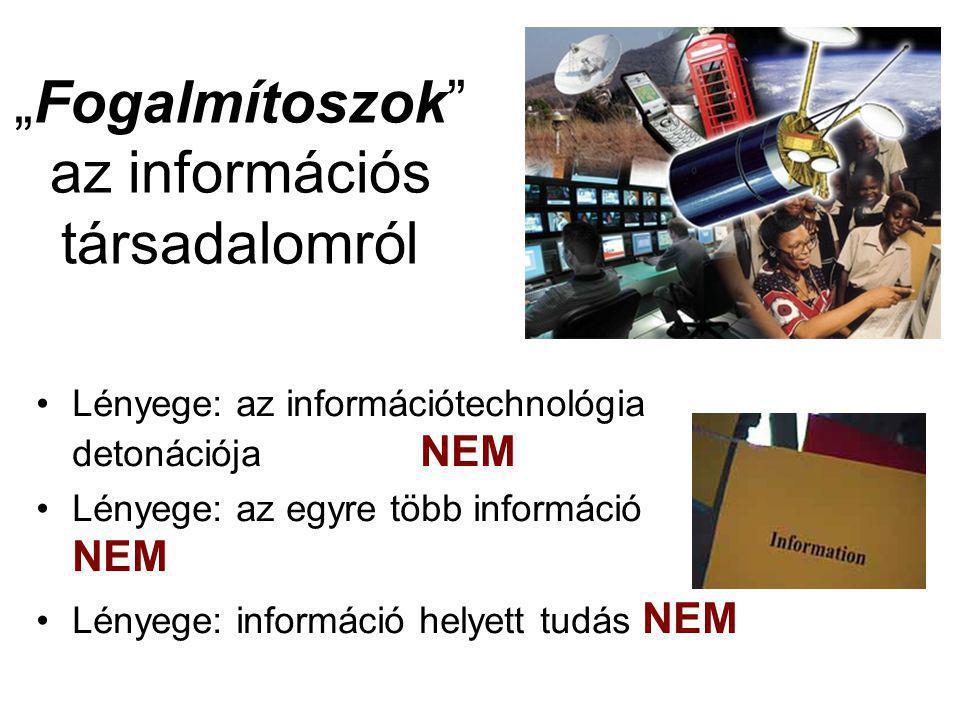 """""""Fogalmítoszok az információs társadalomról Lényege: az információtechnológia detonációja NEM Lényege: az egyre több információ NEM Lényege: információ helyett tudás NEM"""