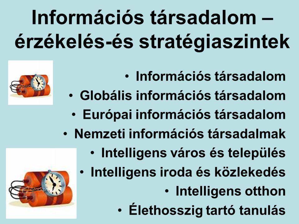 Információs társadalom – érzékelés-és stratégiaszintek Információs társadalom Globális információs társadalom Európai információs társadalom Nemzeti információs társadalmak Intelligens város és település Intelligens iroda és közlekedés Intelligens otthon Élethosszig tartó tanulás