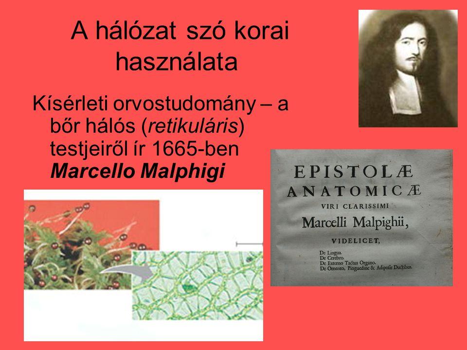 A hálózat szó korai használata Kísérleti orvostudomány – a bőr hálós (retikuláris) testjeiről ír 1665-ben Marcello Malphigi