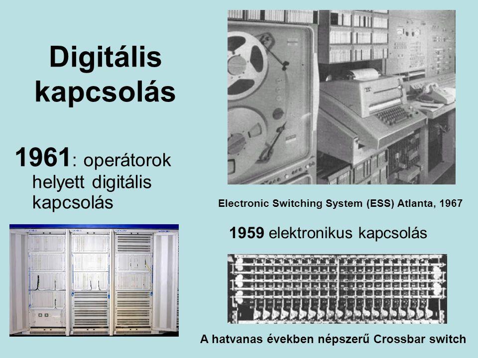 Digitális kapcsolás 1961 : operátorok helyett digitális kapcsolás Electronic Switching System (ESS) Atlanta, 1967 1959 elektronikus kapcsolás A hatvanas években népszerű Crossbar switch
