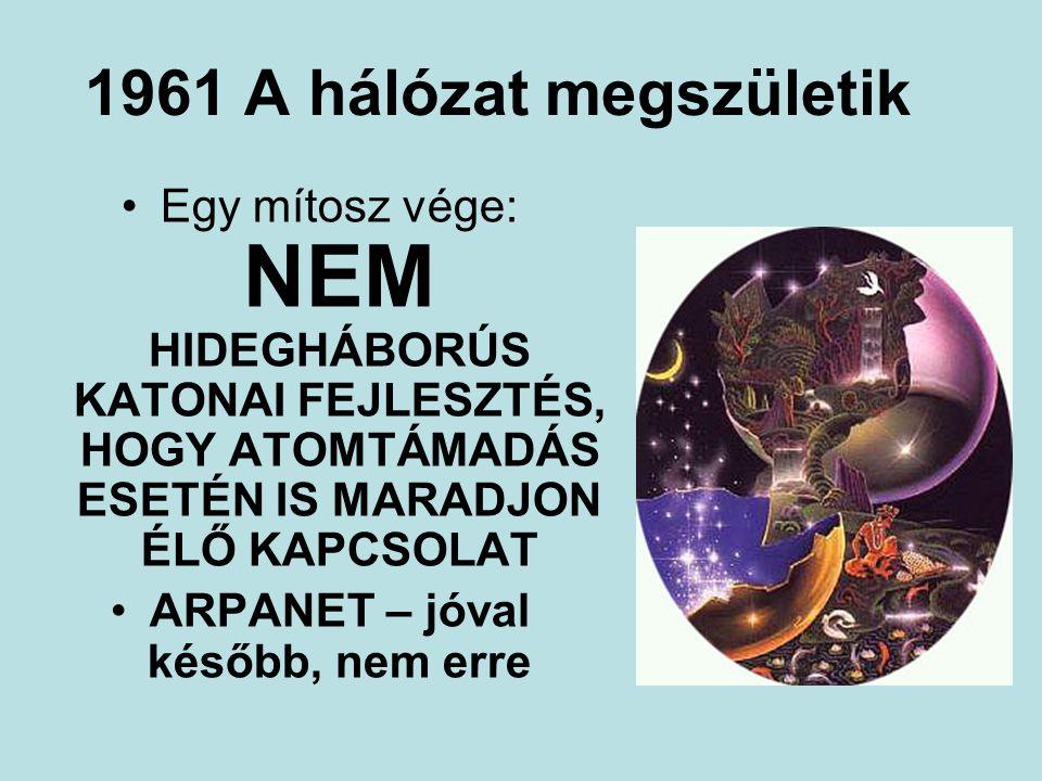 1961 A hálózat megszületik Egy mítosz vége: NEM HIDEGHÁBORÚS KATONAI FEJLESZTÉS, HOGY ATOMTÁMADÁS ESETÉN IS MARADJON ÉLŐ KAPCSOLAT ARPANET – jóval később, nem erre