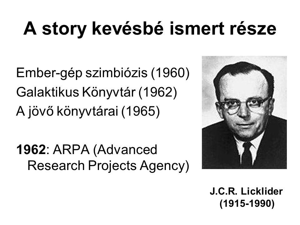 A story kevésbé ismert része Ember-gép szimbiózis (1960) Galaktikus Könyvtár (1962) A jövő könyvtárai (1965) 1962: ARPA (Advanced Research Projects Agency) J.C.R.