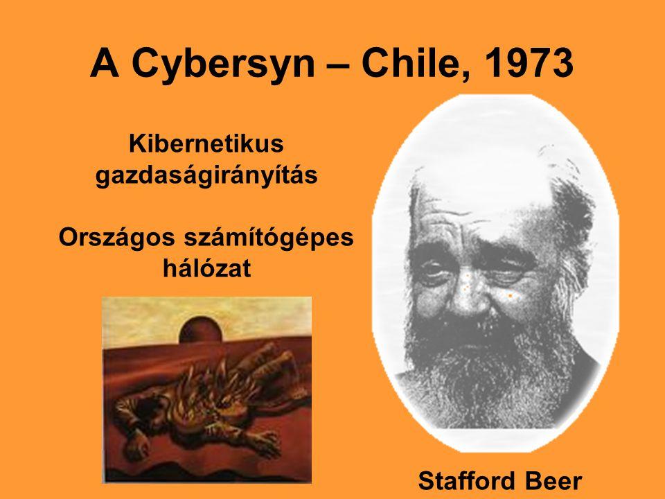 A Cybersyn – Chile, 1973 Stafford Beer Kibernetikus gazdaságirányítás Országos számítógépes hálózat