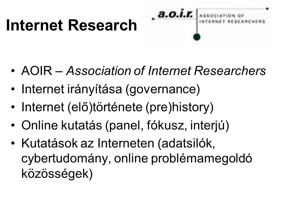 Internet Research AOIR – Association of Internet Researchers Internet irányítása (governance) Internet (elő)története (pre)history) Online kutatás (panel, fókusz, interjú) Kutatások az Interneten (adatsilók, cybertudomány, online problémamegoldó közösségek)