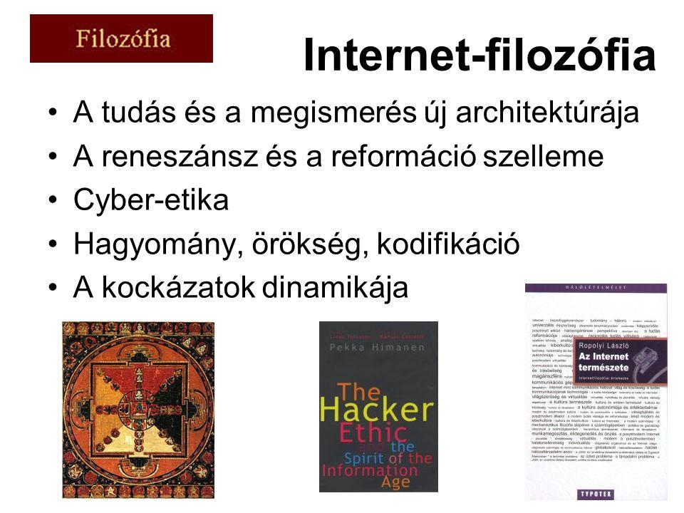 Internet-filozófia A tudás és a megismerés új architektúrája A reneszánsz és a reformáció szelleme Cyber-etika Hagyomány, örökség, kodifikáció A kockázatok dinamikája