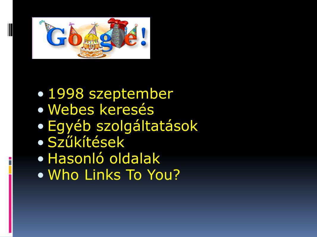 1998 szeptember Webes keresés Egyéb szolgáltatások Szűkítések Hasonló oldalak Who Links To You?
