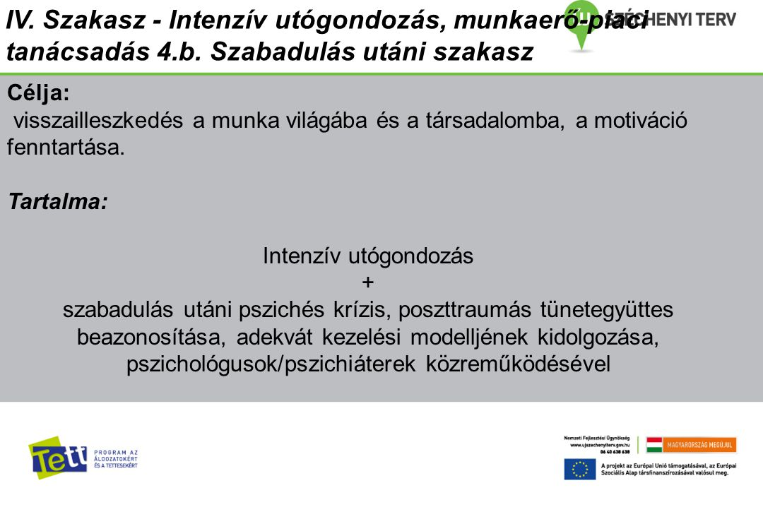 IV. Szakasz - Intenzív utógondozás, munkaerő-piaci tanácsadás 4.b. Szabadulás utáni szakasz Célja: visszailleszkedés a munka világába és a társadalomb