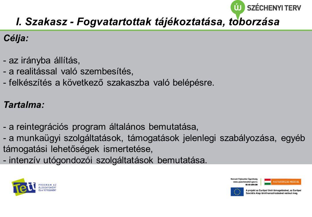 I. Szakasz - Fogvatartottak tájékoztatása, toborzása Célja: - az irányba állítás, - a realitással való szembesítés, - felkészítés a következő szakaszb