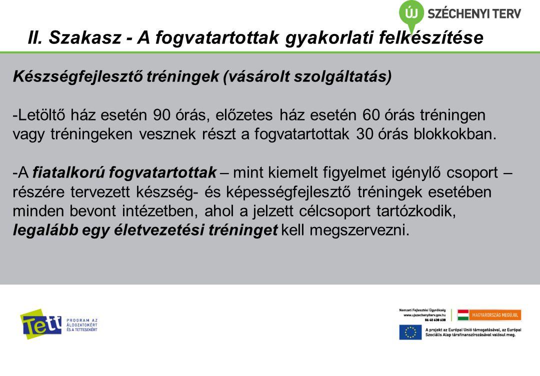 III.Szakasz - A fogvatartottak szakképzése Célja: - szakma elsajátítása, - jövőkép erősítése.