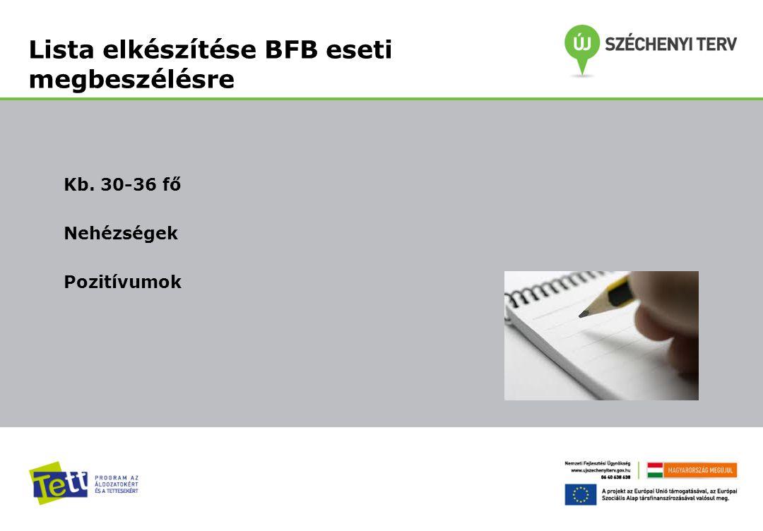 Kb. 30-36 fő Nehézségek Pozitívumok Lista elkészítése BFB eseti megbeszélésre