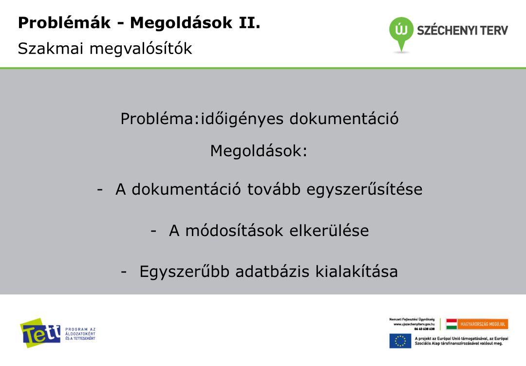 Probléma:időigényes dokumentáció Megoldások: -A dokumentáció tovább egyszerűsítése -A módosítások elkerülése -Egyszerűbb adatbázis kialakítása Problémák - Megoldások II.