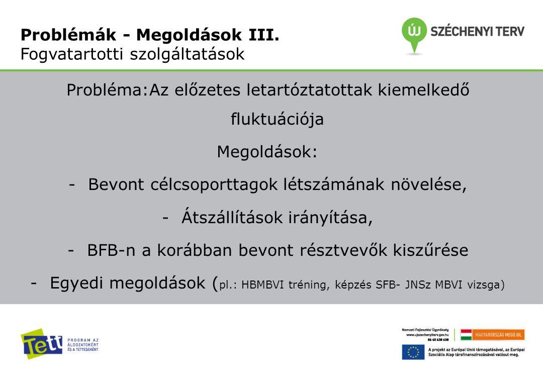 Probléma:Az előzetes letartóztatottak kiemelkedő fluktuációja Megoldások: -Bevont célcsoporttagok létszámának növelése, -Átszállítások irányítása, -BFB-n a korábban bevont résztvevők kiszűrése -Egyedi megoldások ( pl.: HBMBVI tréning, képzés SFB- JNSz MBVI vizsga) Problémák - Megoldások III.