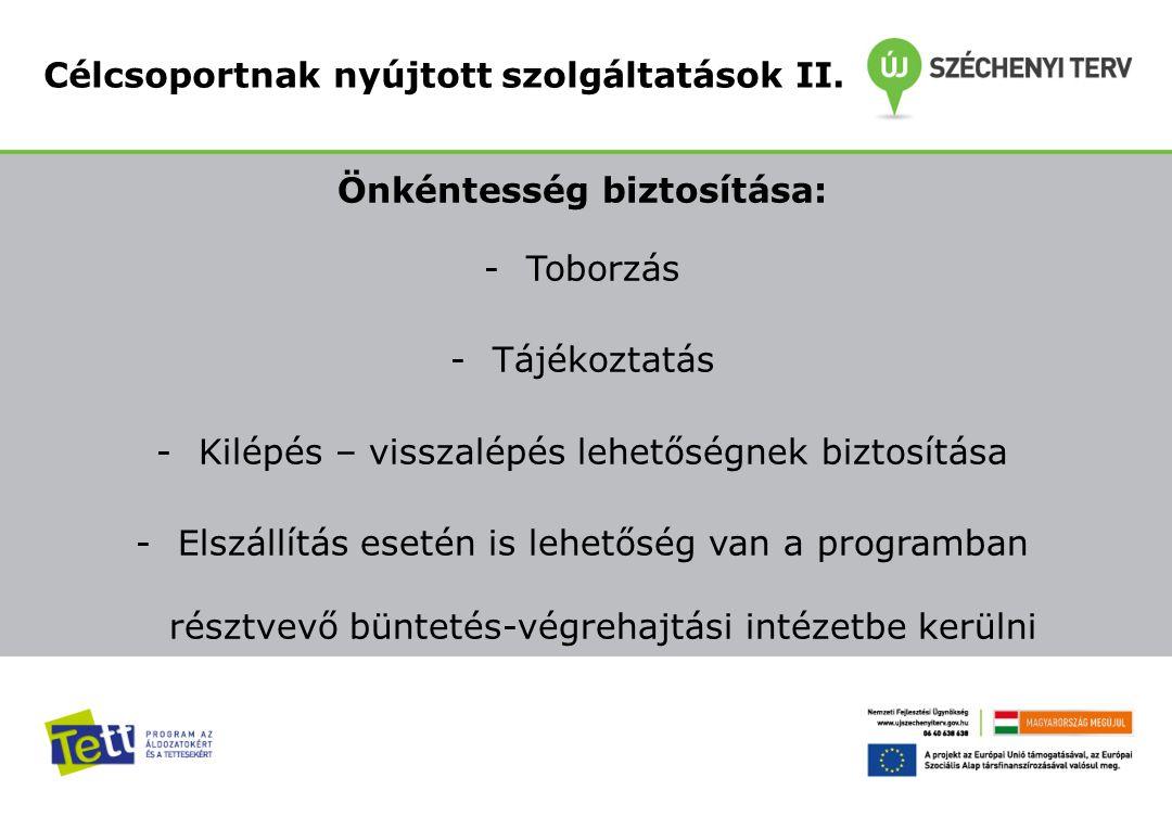 Önkéntesség biztosítása: -Toborzás -Tájékoztatás -Kilépés – visszalépés lehetőségnek biztosítása -Elszállítás esetén is lehetőség van a programban rés