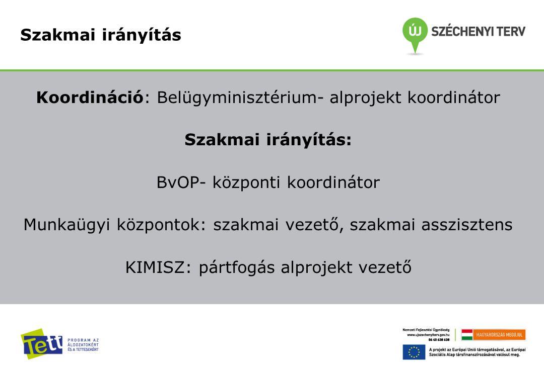 Koordináció: Belügyminisztérium- alprojekt koordinátor Szakmai irányítás: BvOP- központi koordinátor Munkaügyi központok: szakmai vezető, szakmai assz