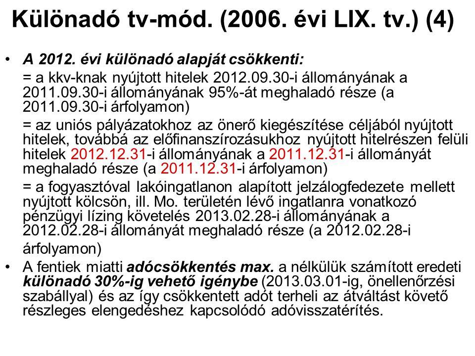Különadó tv-mód. (2006. évi LIX. tv.) (4) A 2012. évi különadó alapját csökkenti: = a kkv-knak nyújtott hitelek 2012.09.30-i állományának a 2011.09.30