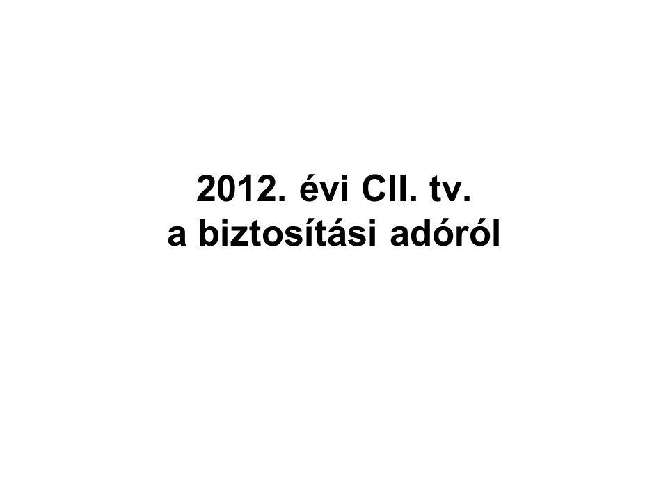 2012. évi CII. tv. a biztosítási adóról