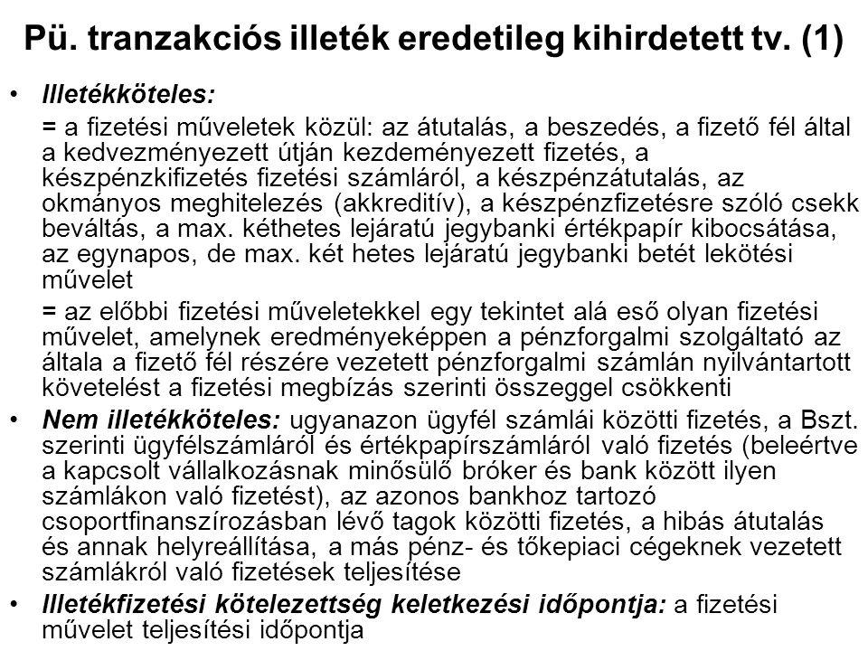 Pü. tranzakciós illeték eredetileg kihirdetett tv. (1) Illetékköteles: = a fizetési műveletek közül: az átutalás, a beszedés, a fizető fél által a ked