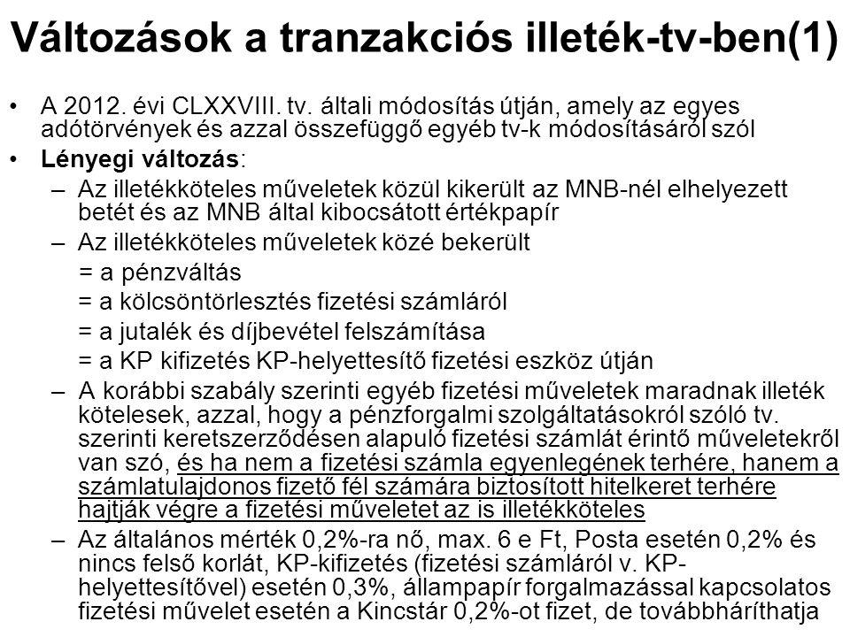 Változások a tranzakciós illeték-tv-ben(1) A 2012. évi CLXXVIII. tv. általi módosítás útján, amely az egyes adótörvények és azzal összefüggő egyéb tv-