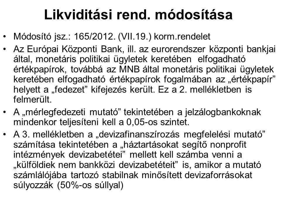 Likviditási rend. módosítása Módosító jsz.: 165/2012. (VII.19.) korm.rendelet Az Európai Központi Bank, ill. az eurorendszer központi bankjai által, m