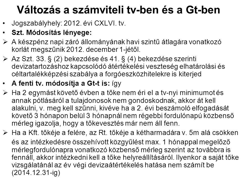 Változás a számviteli tv-ben és a Gt-ben Jogszabályhely: 2012. évi CXLVI. tv. Szt. Módosítás lényege:  A készpénz napi záró állományának havi szintű