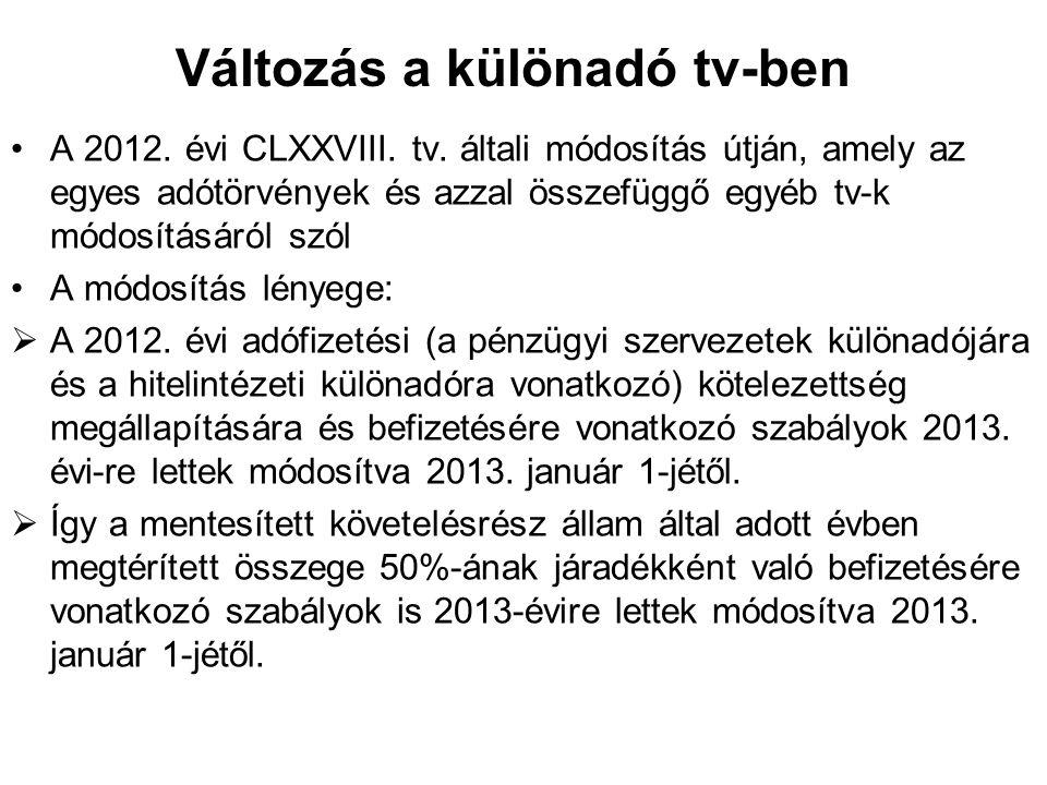 Változás a különadó tv-ben A 2012. évi CLXXVIII. tv. általi módosítás útján, amely az egyes adótörvények és azzal összefüggő egyéb tv-k módosításáról