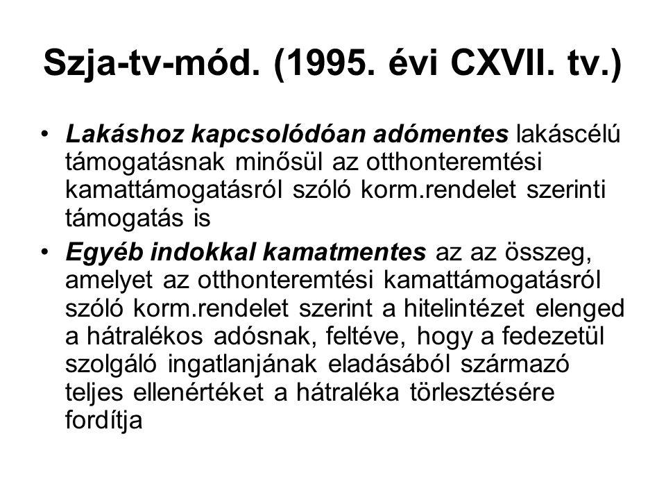 Szja-tv-mód. (1995. évi CXVII. tv.) Lakáshoz kapcsolódóan adómentes lakáscélú támogatásnak minősül az otthonteremtési kamattámogatásról szóló korm.ren