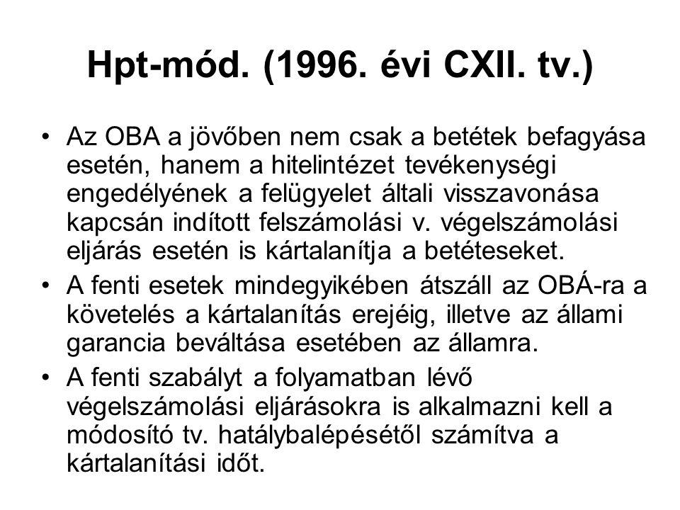 Hpt-mód. (1996. évi CXII. tv.) Az OBA a jövőben nem csak a betétek befagyása esetén, hanem a hitelintézet tevékenységi engedélyének a felügyelet által
