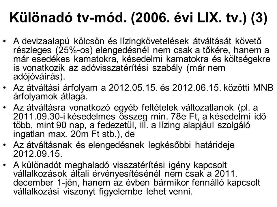 Különadó tv-mód. (2006. évi LIX. tv.) (3) A devizaalapú kölcsön és lízingkövetelések átváltását követő részleges (25%-os) elengedésnél nem csak a tőké