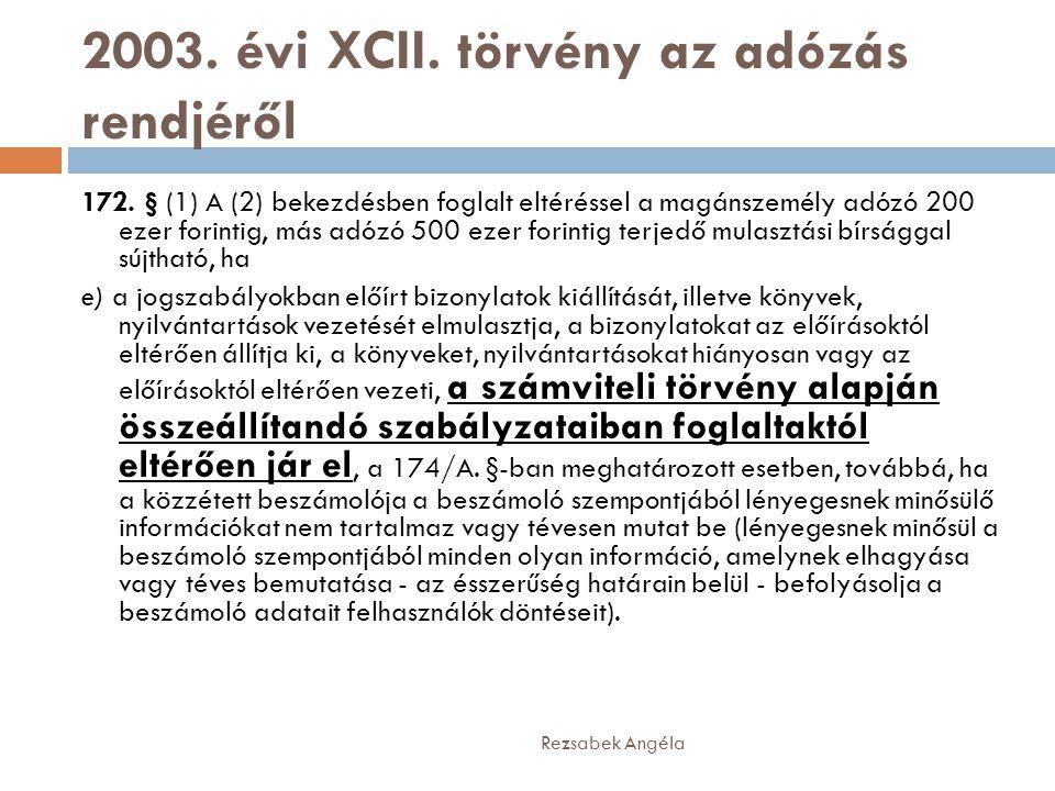 2003. évi XCII. törvény az adózás rendjéről 172. § (1) A (2) bekezdésben foglalt eltéréssel a magánszemély adózó 200 ezer forintig, más adózó 500 ezer
