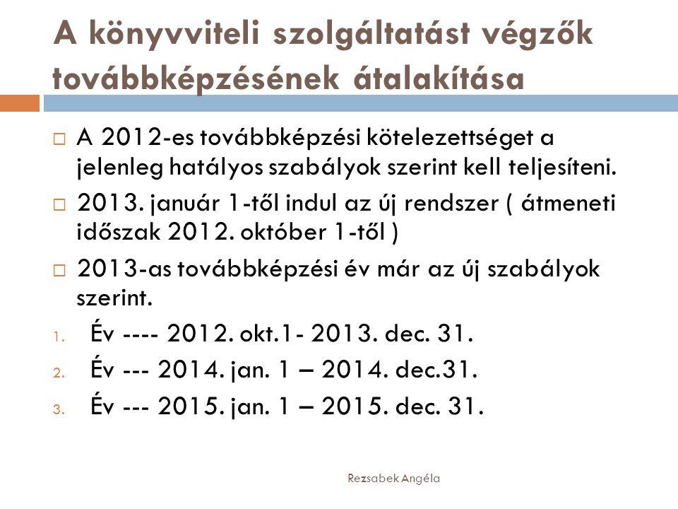 A könyvviteli szolgáltatást végzők továbbképzésének átalakítása Rezsabek Angéla  A 2012-es továbbképzési kötelezettséget a jelenleg hatályos szabályok szerint kell teljesíteni.