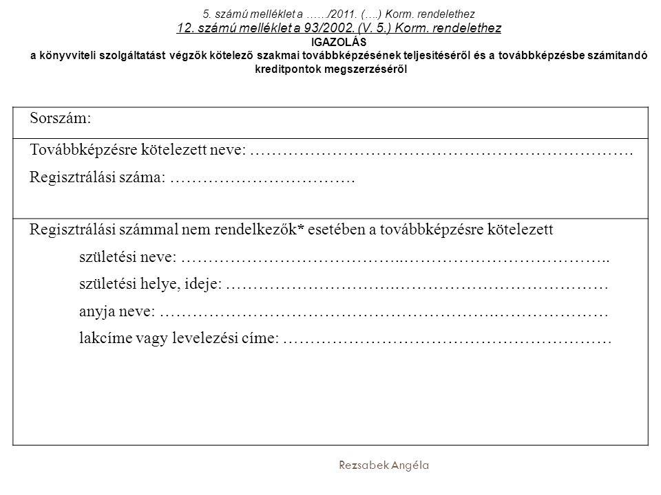 Rezsabek Angéla Sorszám: Továbbképzésre kötelezett neve: ……………………………………………………………. Regisztrálási száma: ……………………………. Regisztrálási számmal nem rendelke