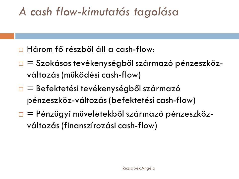 A cash flow-kimutatás tagolása Rezsabek Angéla  Három fő részből áll a cash-flow:  = Szokásos tevékenységből származó pénzeszköz- változás (működési cash-flow)  = Befektetési tevékenységből származó pénzeszköz-változás (befektetési cash-flow)  = Pénzügyi műveletekből származó pénzeszköz- változás (finanszírozási cash-flow)