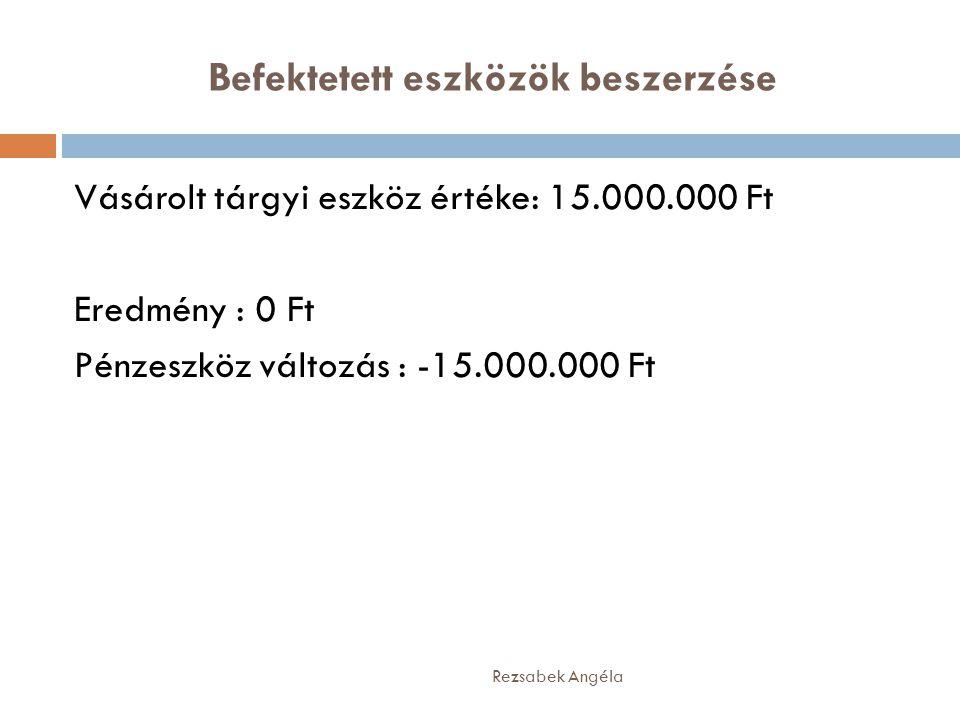 Befektetett eszközök beszerzése Rezsabek Angéla Vásárolt tárgyi eszköz értéke: 15.000.000 Ft Eredmény : 0 Ft Pénzeszköz változás : -15.000.000 Ft