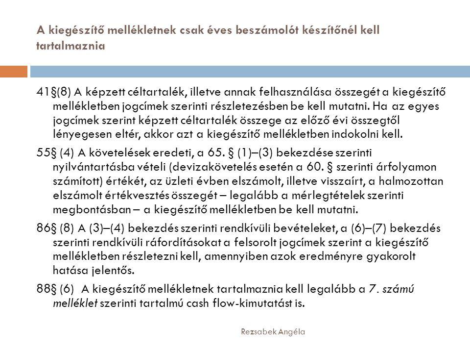 A kiegészítő mellékletnek csak éves beszámolót készítőnél kell tartalmaznia Rezsabek Angéla 41§(8) A képzett céltartalék, illetve annak felhasználása összegét a kiegészítő mellékletben jogcímek szerinti részletezésben be kell mutatni.