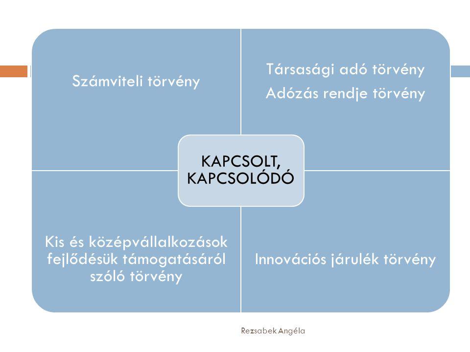 Számviteli törvény Társasági adó törvény Adózás rendje törvény Kis és középvállalkozások fejlődésük támogatásáról szóló törvény Innovációs járulék tör