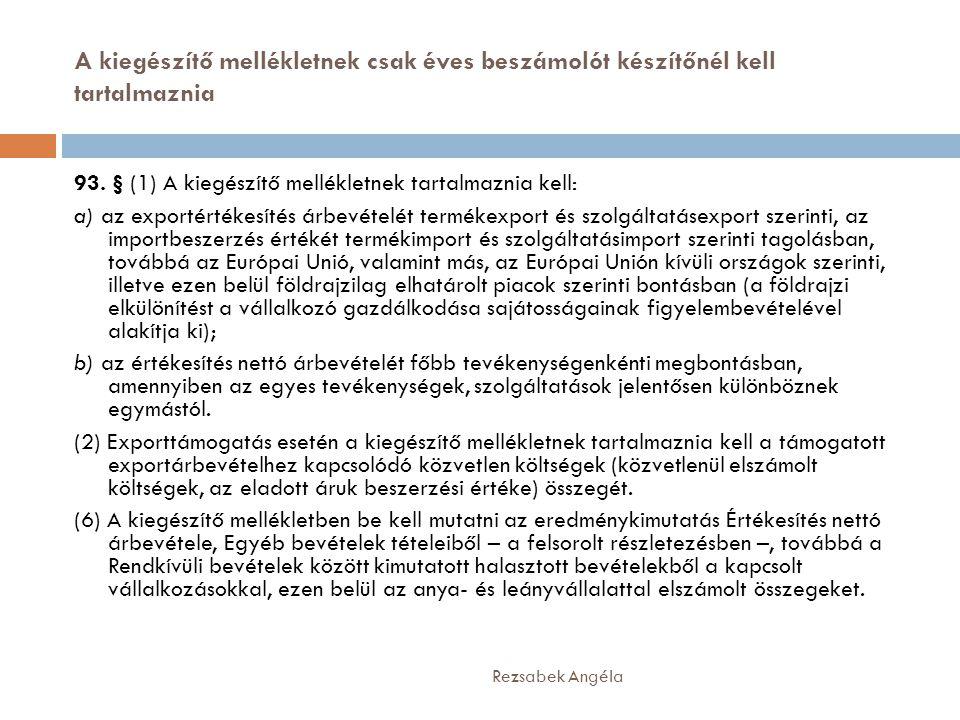 A kiegészítő mellékletnek csak éves beszámolót készítőnél kell tartalmaznia Rezsabek Angéla 93. § (1) A kiegészítő mellékletnek tartalmaznia kell: a)