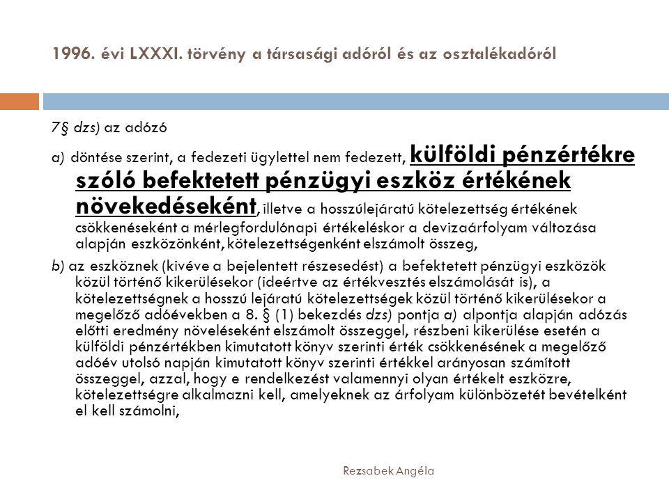 1996. évi LXXXI. törvény a társasági adóról és az osztalékadóról Rezsabek Angéla 7§ dzs) az adózó a) döntése szerint, a fedezeti ügylettel nem fedezet