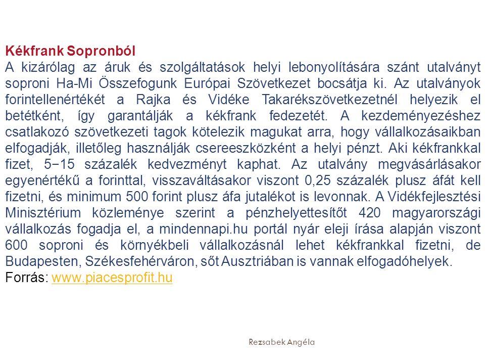 Rezsabek Angéla Kékfrank Sopronból A kizárólag az áruk és szolgáltatások helyi lebonyolítására szánt utalványt soproni Ha-Mi Összefogunk Európai Szövetkezet bocsátja ki.