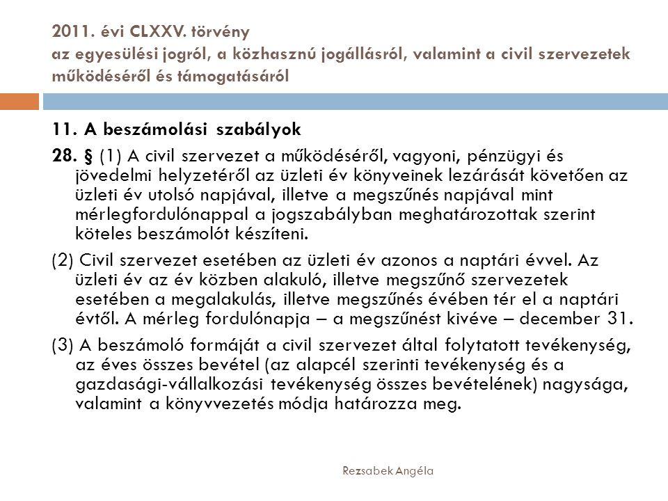 2011. évi CLXXV. törvény az egyesülési jogról, a közhasznú jogállásról, valamint a civil szervezetek működéséről és támogatásáról Rezsabek Angéla 11.