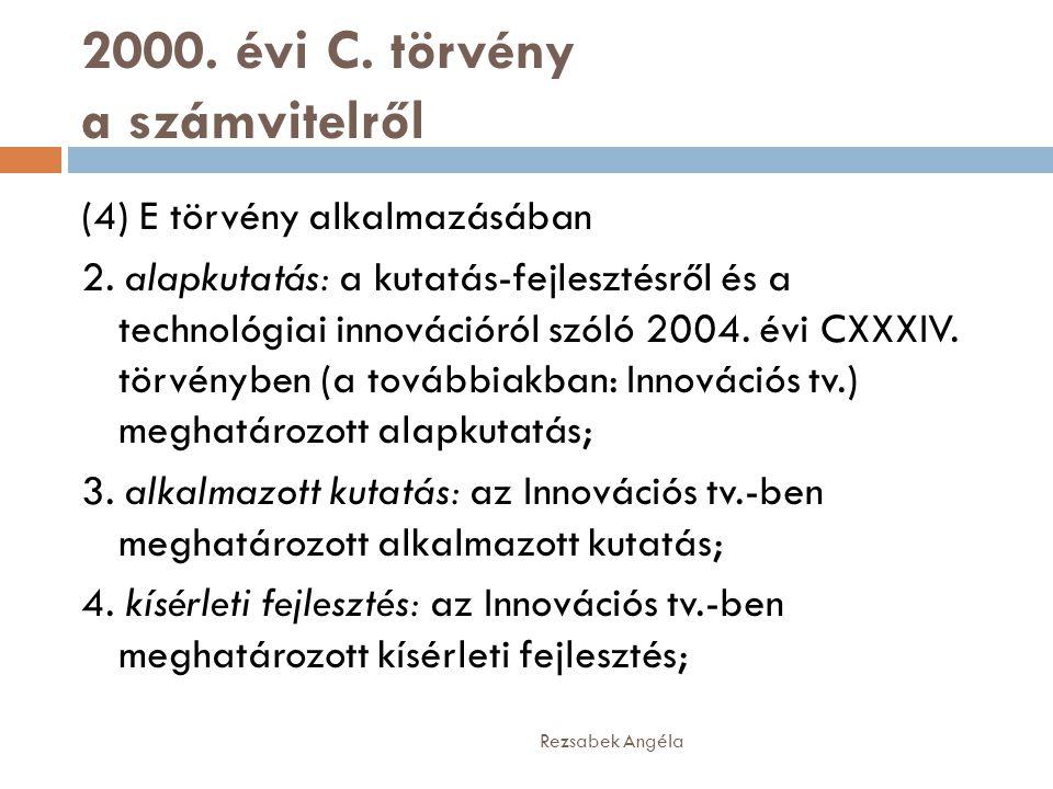 2000. évi C. törvény a számvitelről (4) E törvény alkalmazásában 2. alapkutatás: a kutatás-fejlesztésről és a technológiai innovációról szóló 2004. év